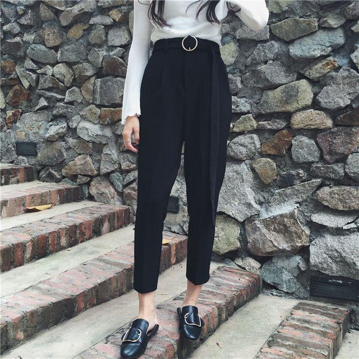 細見え合わせやすい輪のベルトハイウエストスーツアンクルパンツ - DWSTYLE レディースファッション激安通販|10代·20代·30代ファッション|海外人気ファッション激安購入
