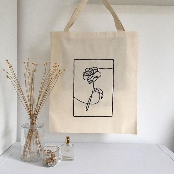 Bts Love Yourself Flower Hand Embroidered Tote Shopper School Eco