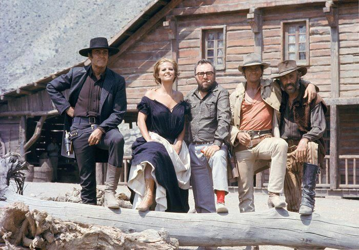 "Henry Fonda, Claudia Cardinale , Sergio Leone, Charles Bronson and Jason Robards on the set of ""Once Upon a Time in the West""...  dir. Sergio Leone, 1968."