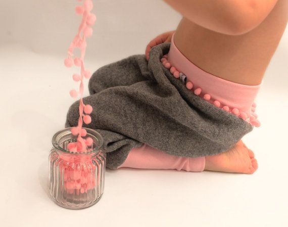wool toddler pants grey and pink pantsbabypants by PicknickerBlue
