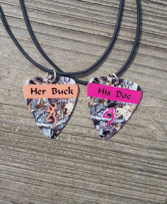 Her Buck His Doe Guitar pick matching necklaces for by Featherpick, $25.00