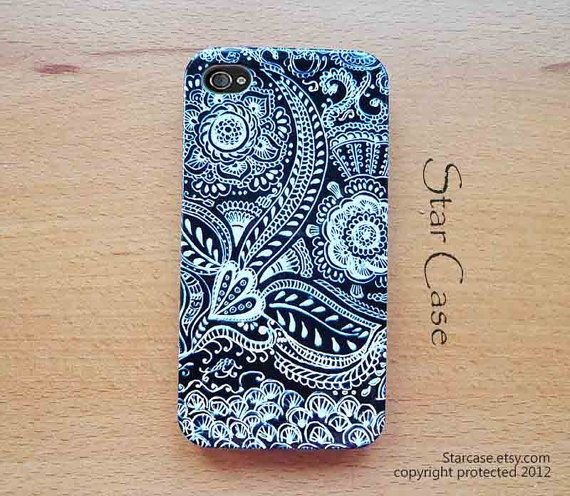 iPhone 4/ 4s and 5 Case - Thai Pattern in Black iPhone Hard Case- iPhone 4 5 Cover Floral Hard Case -Lace  Fashion Girly Pretty Cute