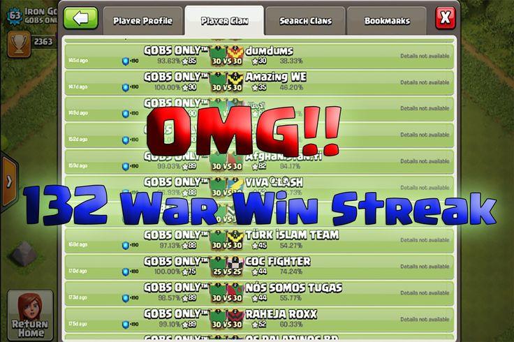 Clash of clans highest war win streak in the world. 132 war win streak clash of clans. Top war win streak clan war clash of clans. Most war win streak clash of clans clan. GOBS ONLY clan war win streak.Unbeatable war win streak clash of clans. Best war log in the world. No lost war win streak. Green war log. Best war win streak clash of clans war clan Watch highest war win streak clash of clans: http://ift.tt/2amu4UQ  Clash of clans highest war win streak clan in the world. Insane GOBS ONLY…