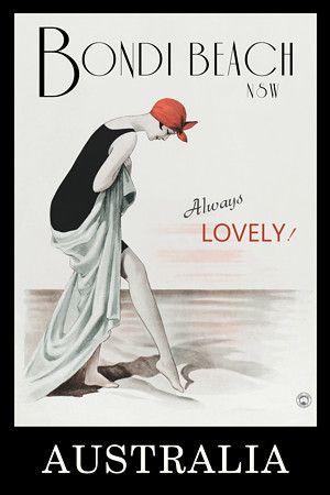 Bondi Beach, NSW, Australia 'Always Lovely!' by Vintage Venus http://www.vintagevenus.com.au/products/vintage_poster_print-tv693