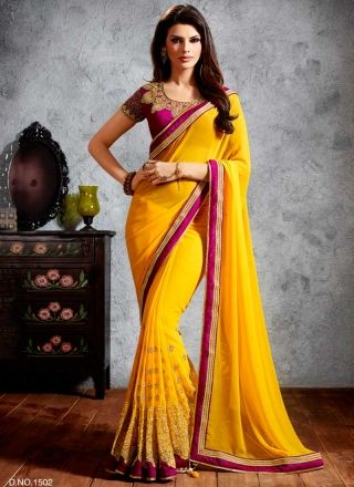 Sunlight Yellow Georgette With Zari Embroidery Work Designer Saree