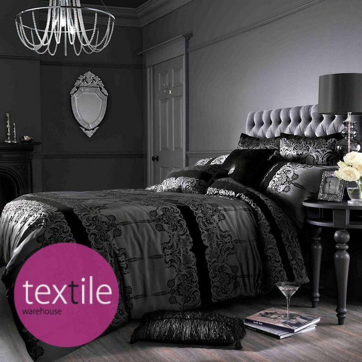 Astoria Black Lace Flock Luxury Duvet Quilt Cover Bedding By Kylie Minogue