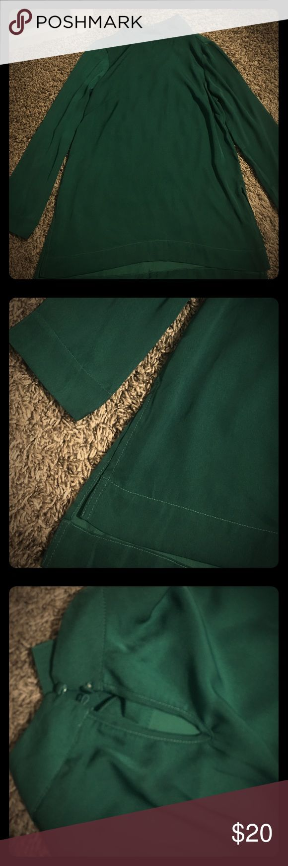 Very flattering H&M silk emerald green tunic Very flattering emerald green tunic/top from H&M wore once! H&M Tops Tunics