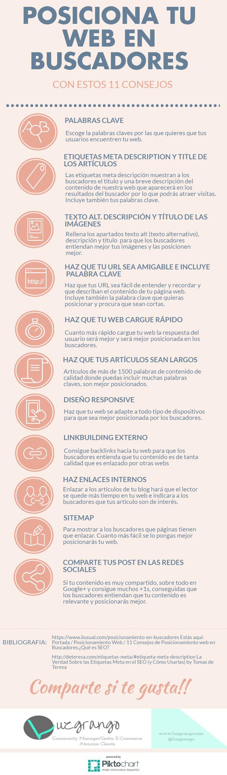 Hola: Una infografía con11 consejos para posicionar tu web en buscadores. Vía Un saludo