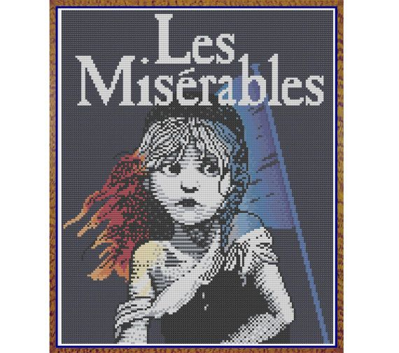Les Miserables - The Musical - Counted Cross Stitch Pattern (X-Stitch PDF) by HornswoggleStore, $5.00 (theater, broadway, Cameron MacKintosh)