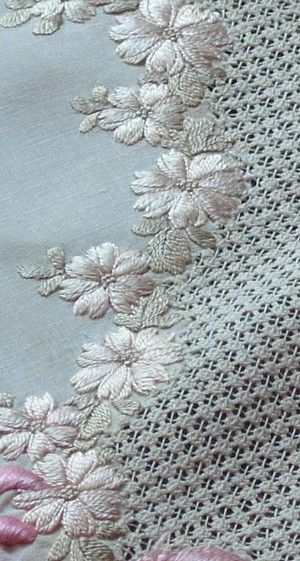Em's Heart Antique Linens -Antique Society Silk Embroidered Tea Cloth