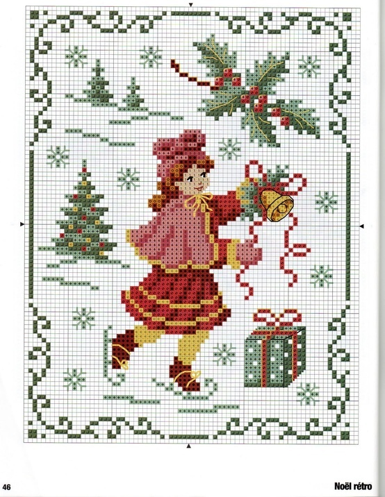 skating girl Christmas cross stitch free | REPINNED