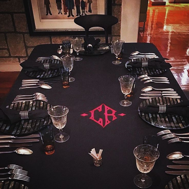 MarinaC - gothic monogram on black linen tablecloth for our dear customer in Hong Kong.