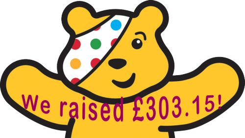 On Friday 16 November, Library fines were donated to Children in Need. We raised a total of £303.15. Thank you!