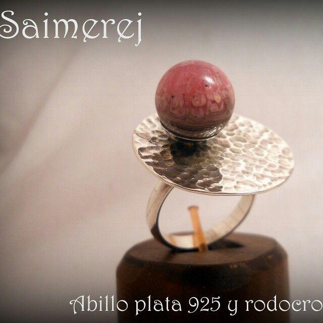 Anillo plata 925 con piedra rodocrosita