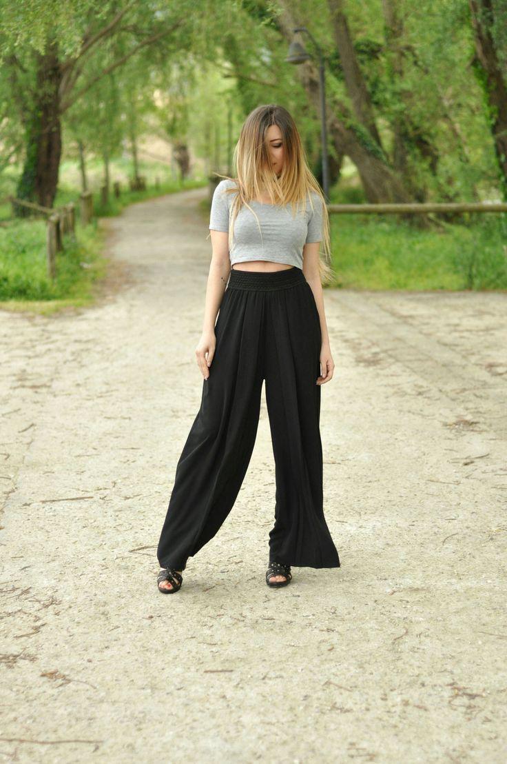 pantaloni palazzo neri vita alta (2)
