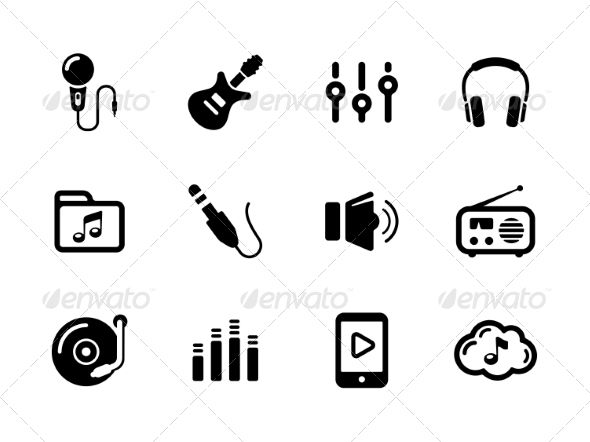 Set of Sound and Music Black Icons on White
