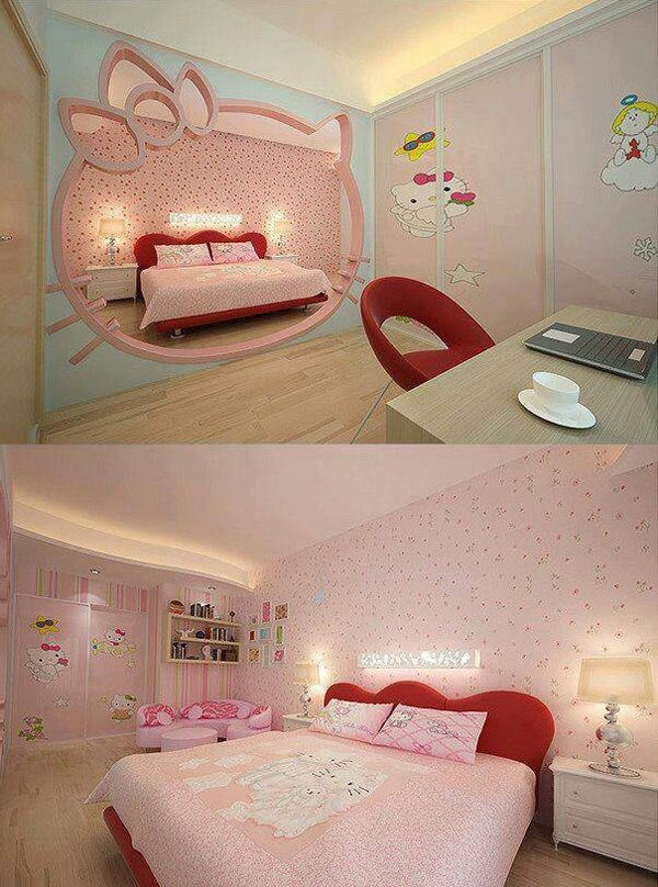 hello kitty hidden room ideas 25 Hello Kitty Bedroom Theme Designs