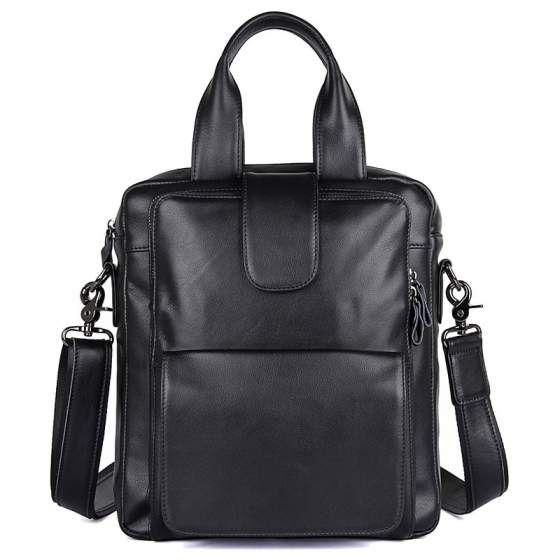 Мужская кожаная сумка через плечо и в руку 77266A.  Размер: 30,5х27х7 см  Цвет: черный  Материал: телячья кожа  Вес изделия: 1,03 кг.  Двойные кожаные ручки с выносом в 14 см.