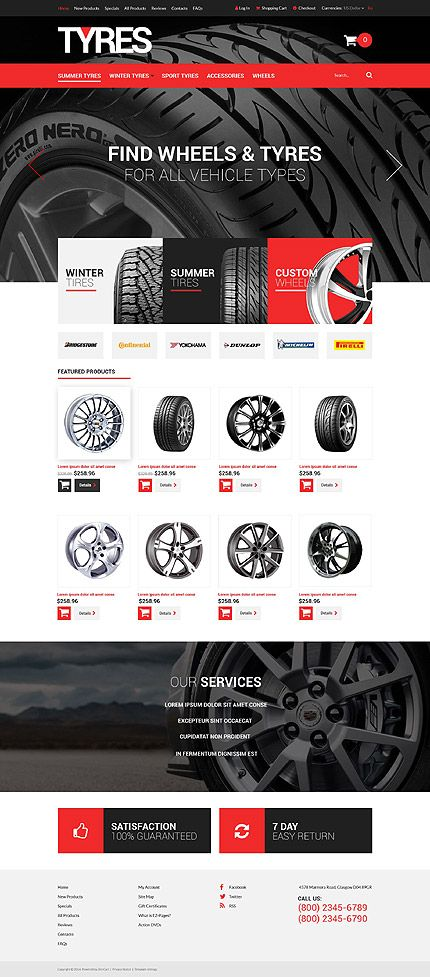Tyre & Wheels Online Store #ZenCart #template. #themes #business #ecommerce #webtemplates