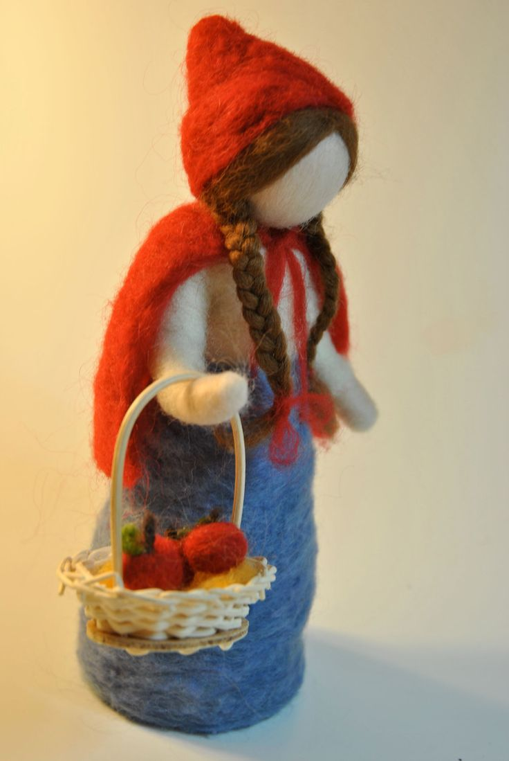 Waldorf inspired needle felted doll: The Little Red door MagicWool