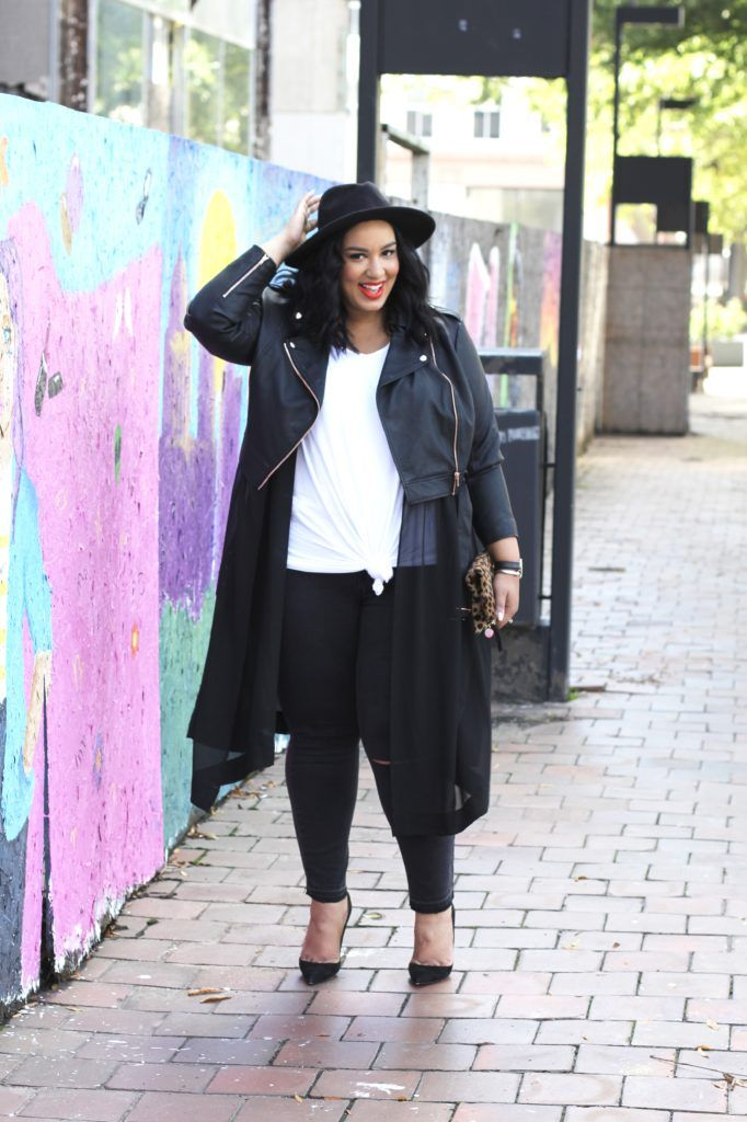 Plus Size Casual Outfit | Plus Siize Style | Plus Size Moto Jacket and Black Jeans