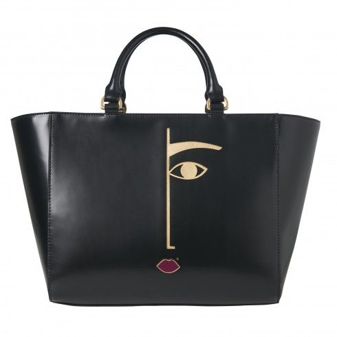Dora Face Polished Leather Cesca Tote | Totes | Handbags | Lulu Guinness