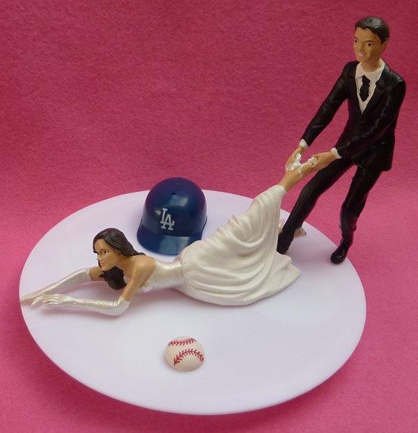 wedding cake topper los angeles dodgers la g baseball