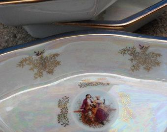 """Three Beautiful Vintage Victorian Scene Opalescent Dishes Made Of Porcelain $28.00 