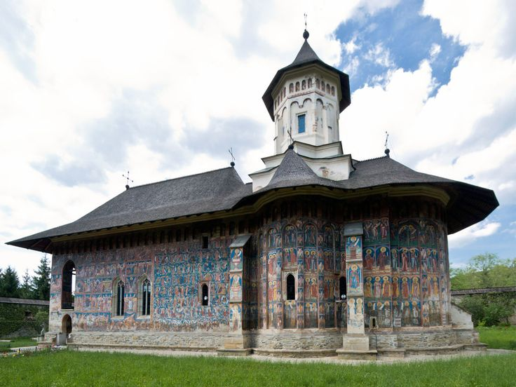 """Romania-Rominia-Monastery Voronet is a monastery for women built by the Voievod of Moldova, St. Stephen the Great, in 1488. Its building took three months and 21 days to complete. It is one of the famous """"Painted Monasteries of Bucovina"""""""