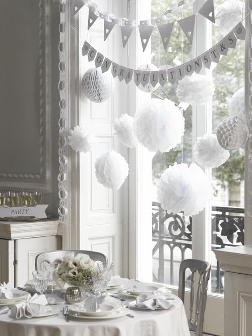 white party hang puffy balls on the wall or ceiling for decorationsBrought to you by Chinet® Cut Crystal® #carriedaway