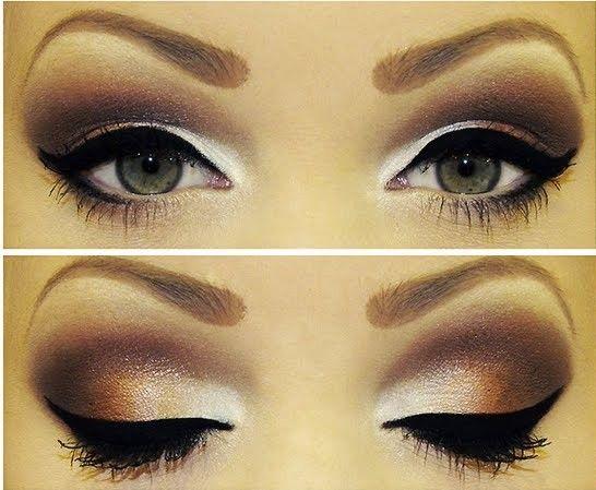 brown smokey eye and white highlighting