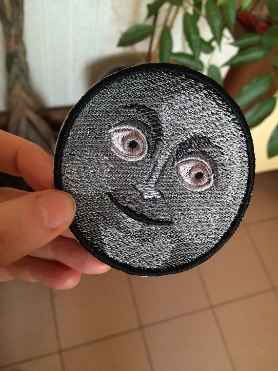 Dark Moon Face Emoji patch. Embroidered. by EmbroideryLab on Etsy
