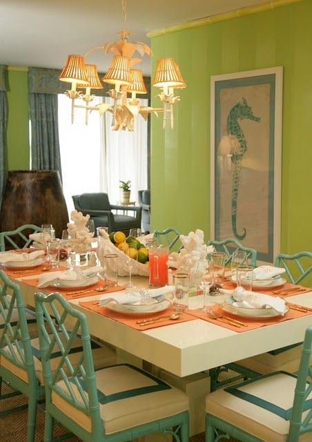 Chinoiserie!Palms Beach, Dining Rooms, Beach House, Palm Beach, Chairs, Seahorses, Beach Style, Sea Hors, Chinoiserie Chic