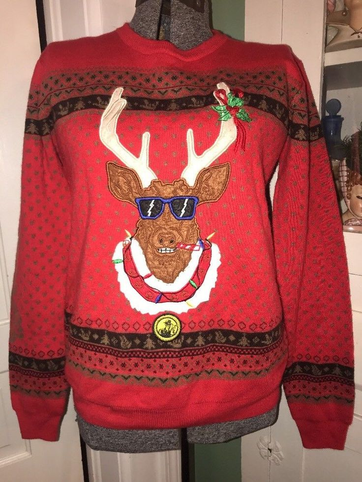 Dutch Bros Brothers Women's LARGE Reindeer Ugly Christmas Sweater Dutch Mafia  | eBay