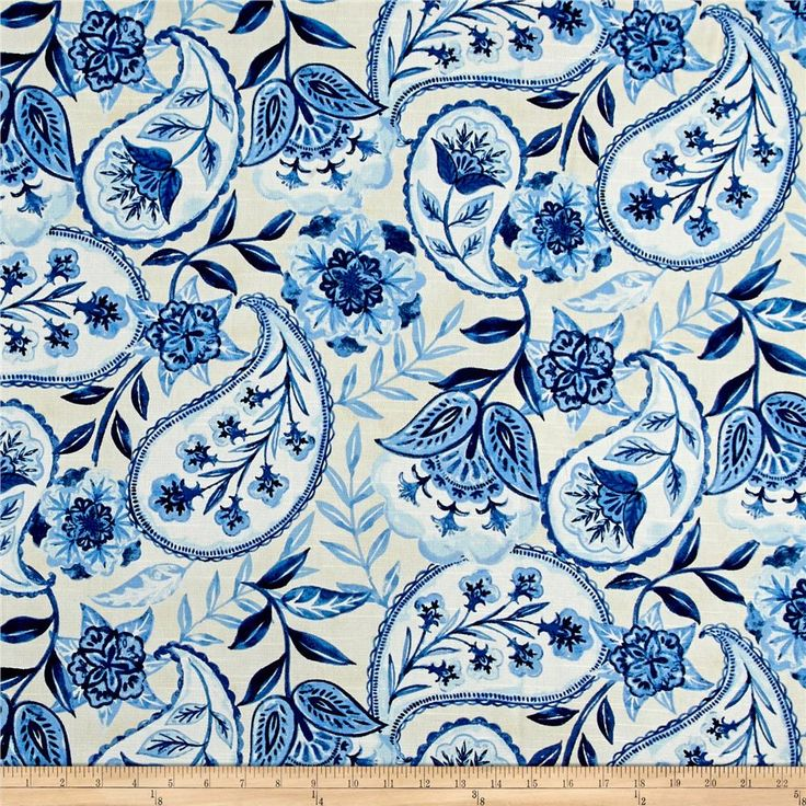 Kelly Ripa Home Happy Hour Bluejay from @fabricdotcom  Designed by Kelly Ripa, this beautiful medium weight screen printed cotton duck features slubs and bright colors in floral and paisley design. Use this versatile fabric for window treatments (draperies, valences), toss pillows, duvet covers, and lighter upholstery projects. Colors include shades of blue and ivory.