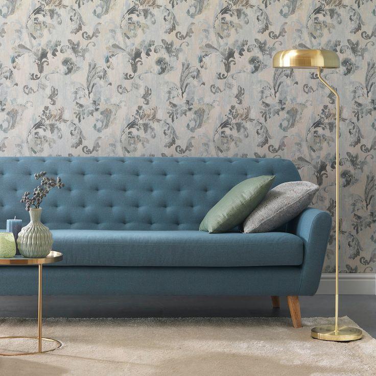 Sally Zuhause bei @Rasch  #danishdesign #furniture #scandinaviandesign #interiordesign #furnituredesign #nordicinspiration #retrostyle #blue #Sofa