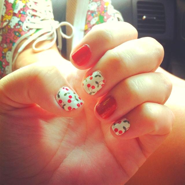 cherry manicure; cherries; Sally Hansen; red nails; nail polish; manicure