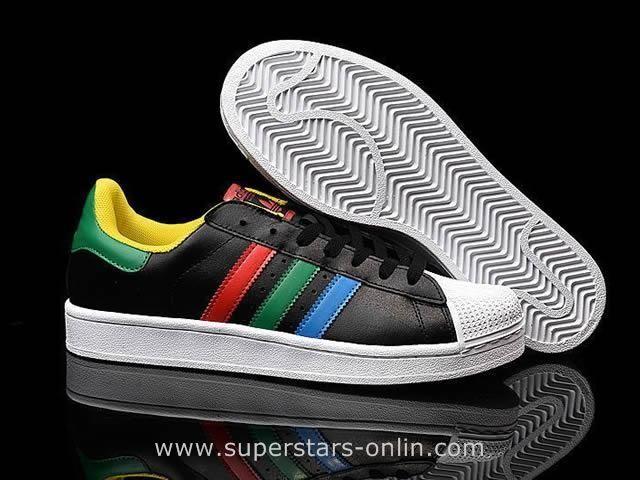 ADIDAS Superstar 80s Mandal Toe Black/blue/Green/Red/yellow