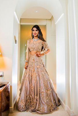Sangeet Lehengas - Gold and Grey Lehenga with Golden Embroidery | WedMeGood | Grey Lehenga with Gold Embroidery, Diamond Set #wedmegood #indianbride #lehenga #bridal #diamond #indianwedding #sangeet
