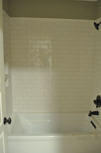 White Subway Tile For Tub Surround Bungalow Blue Interiors Home Bathrooms Bungalow