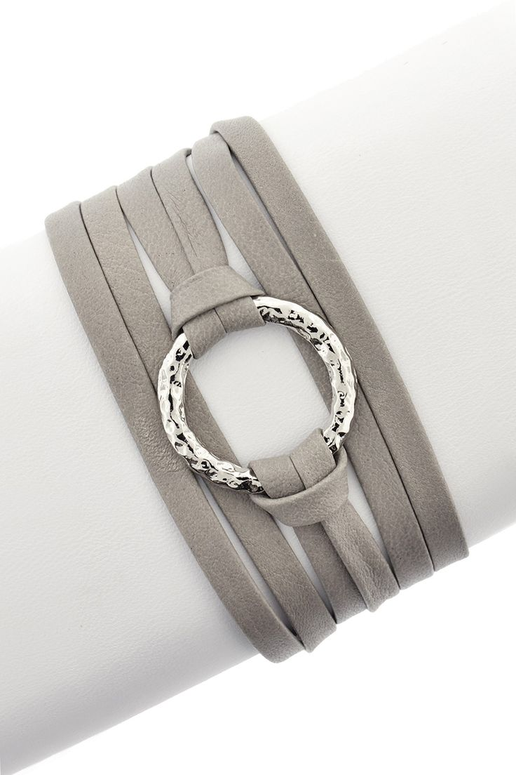 Leila  Hammered Ring Leather Wrap Bracelet