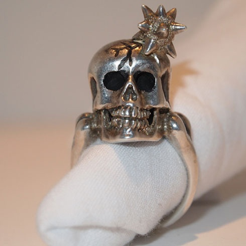 """""""Macy""""- My Skull Ring with Mace in Head, Silver and Black Rhodium with White Diamond."""