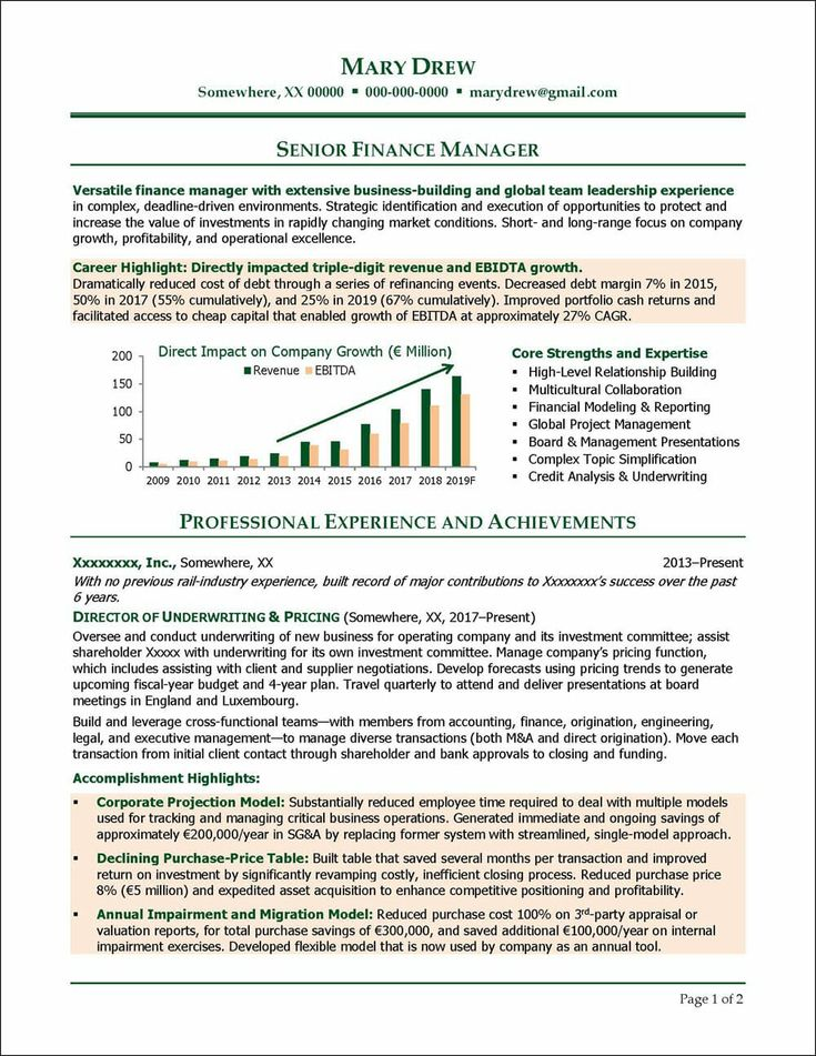 Finance manager resume example distinctive career