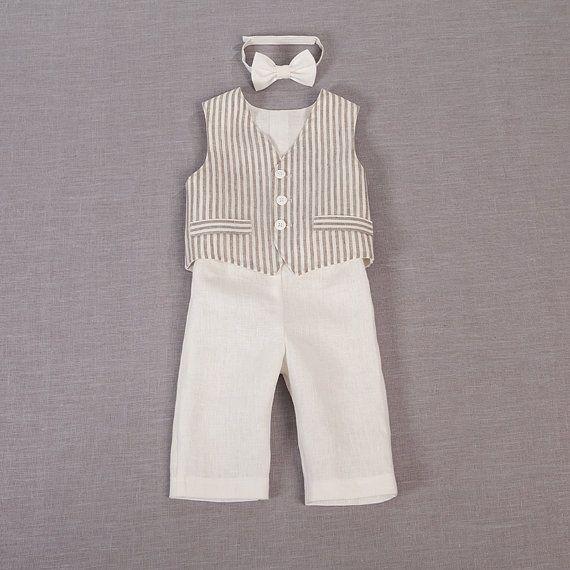 Bebé niño traje lino anillo portador trajes bautismo por Graccia
