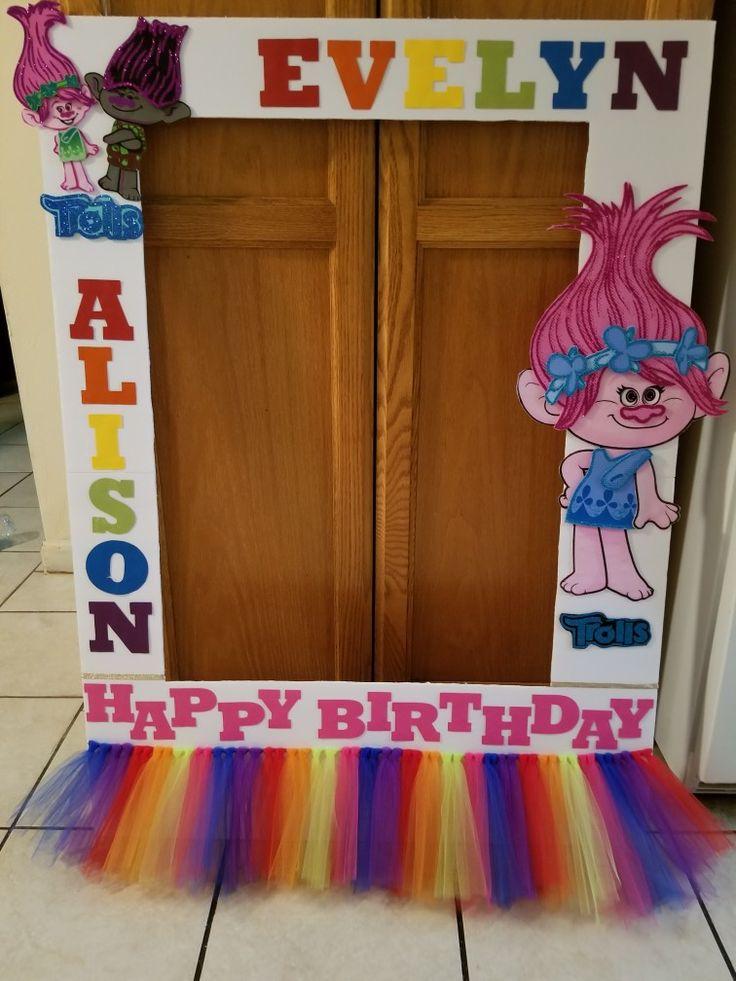 Trolls Photo Prop - Trolls Birthday Party - Trolls Decorations - Trolls Photo Frame - Happy Birthday Trolls - Rainbow Birthday Party