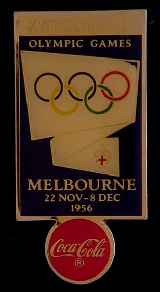 Coca Cola 1956 Melbourne Olympic Poster Pin Badge - $9.00
