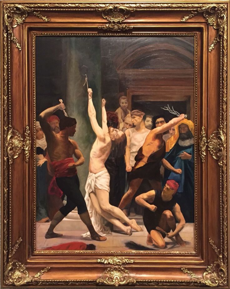 """THE FLAGELLATION OF OUR LORD JESUS CHRIST (STUDY FOR WILLIAM BOUGAREAU)  By Amir Attallah  In Paintings, Oil on wood Size: 600(L) X 800(W)  Price 1500 CHF  Inspiration: Verse: Isaiah 53:5 """"But he was wounded for our transgressions, he was bruised for our iniquities: the chastisement of our peace was upon him; and with his stripes we are healed""""  See it here: http://www.c-glory.ch/artwork.html #CGlory #TheFlagellation #Artwork"""