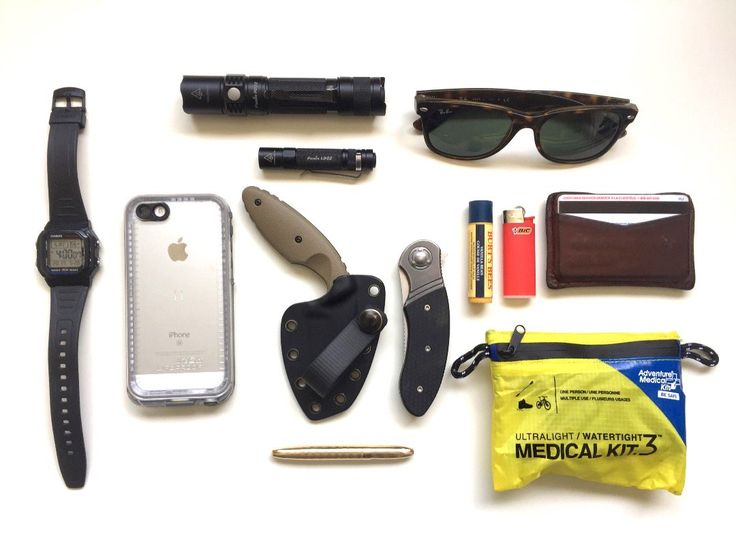 Everyday Carry  submitted by BlueWolfOne  Casio Men's W800H-1AV Classic Digital Sport Watch  Apple iPhone SE  Lifeproof Nuud Series iPhone 5s  2016 Edition Fenix PD32 900 Lumen CREE LED Tactical Flashlight smart battery charger 2 X Fenix 18650 ARB-L18 3500mAh rechargeable batteries with 2X EdisonBright CR123A Batteries bundle  Fenix LD02  TDI Law Enforcement Knife  Matthew's Fabrication Kabar TDI - Kydex Knife Sheath  Fisher Space Bullet Space Pen Gold  Columbia River Knife and Tool K300KXP…