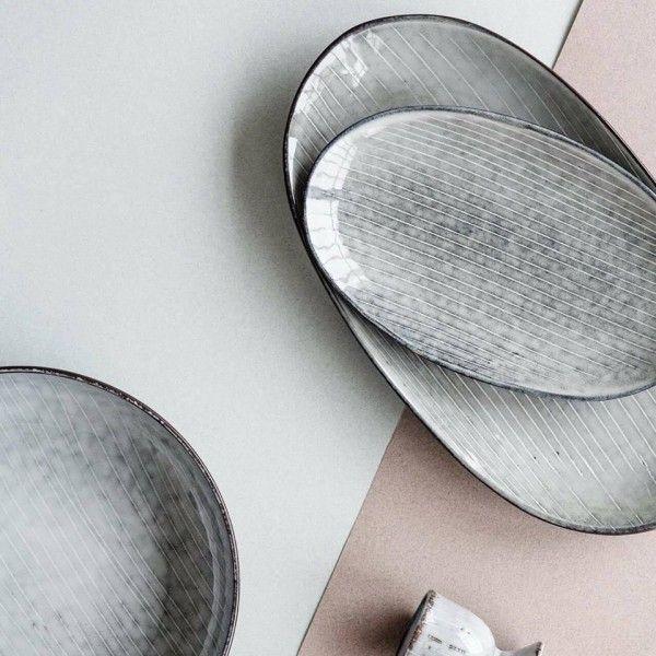 2 ovale Servierteller / Servierplatten 18 x 30 cm + 14 x 23 cm