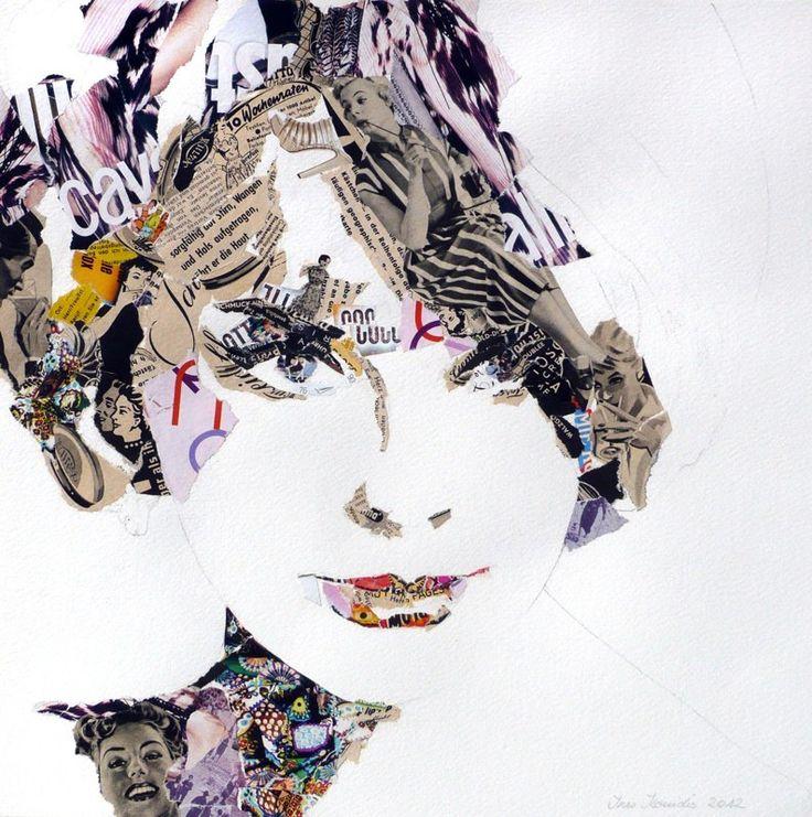 """Ines Kouidis """"ELKE"""" 40x40cm, collage on paper"""